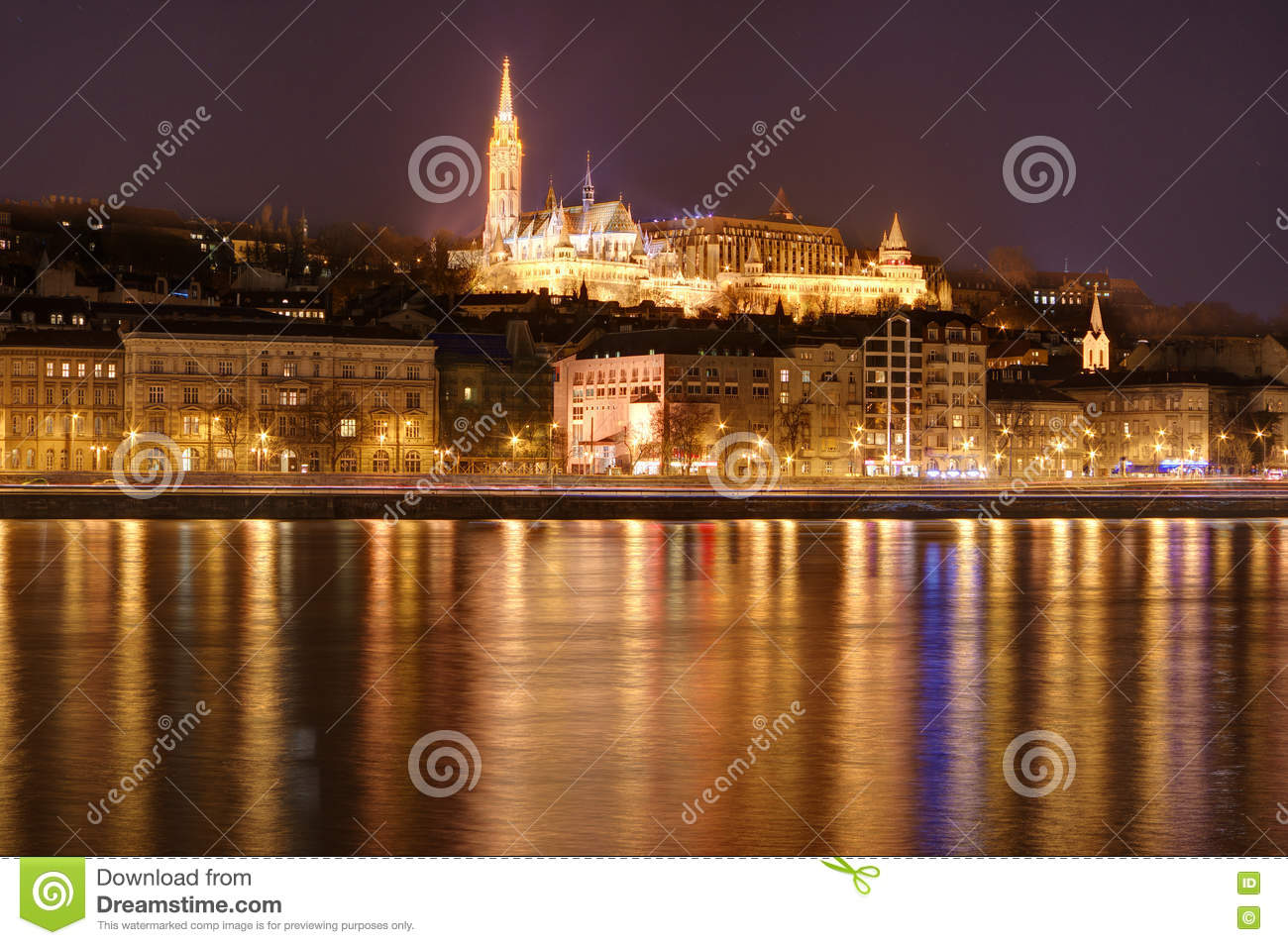 Hungary, Budapest by night - reflections in Danube river, Fisherman s Bastion