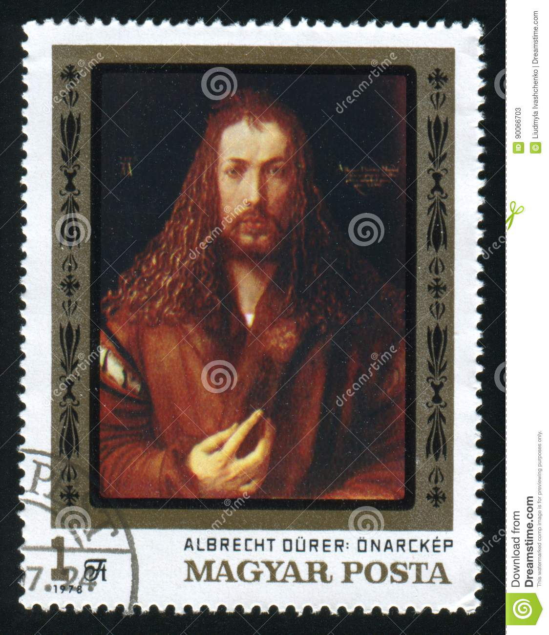 HUNGARY - CIRCA 1978: A postage stamp printed in the Hungary shows painting Albrecht Durer, circa 1978