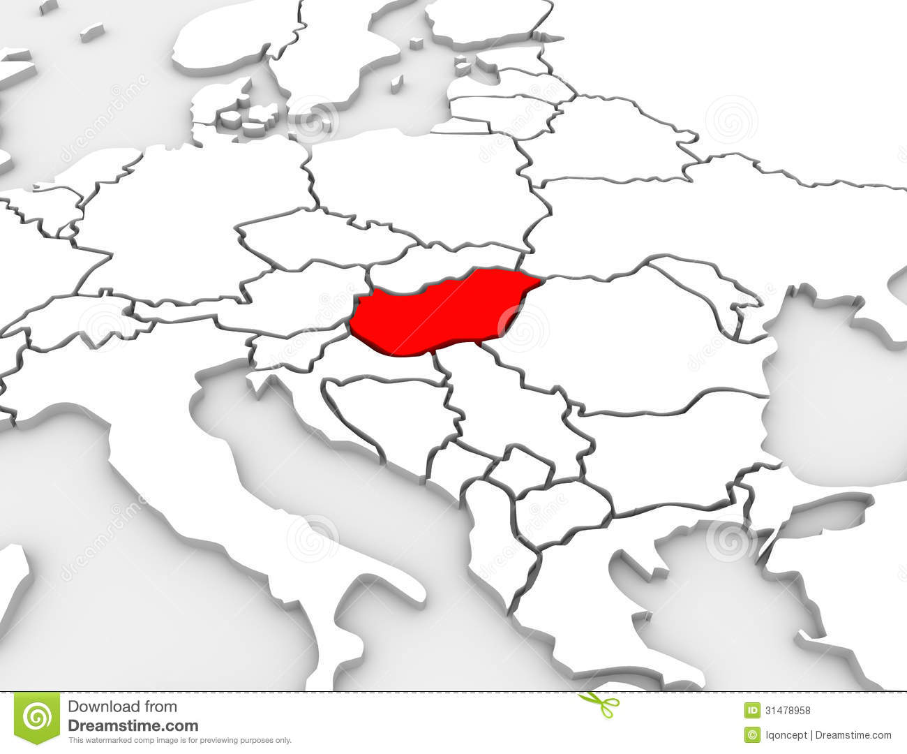 Hungary Country Abstract 3D Illustrated Map Europe ...
