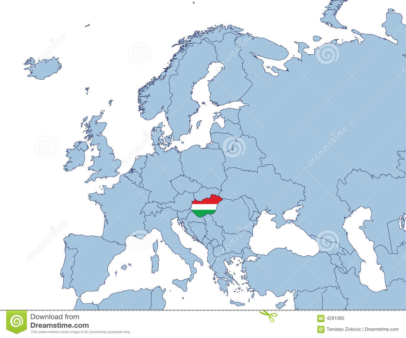 Picture of: Hungary On Europe Map Stock Vector Illustration Of Geography 4291080