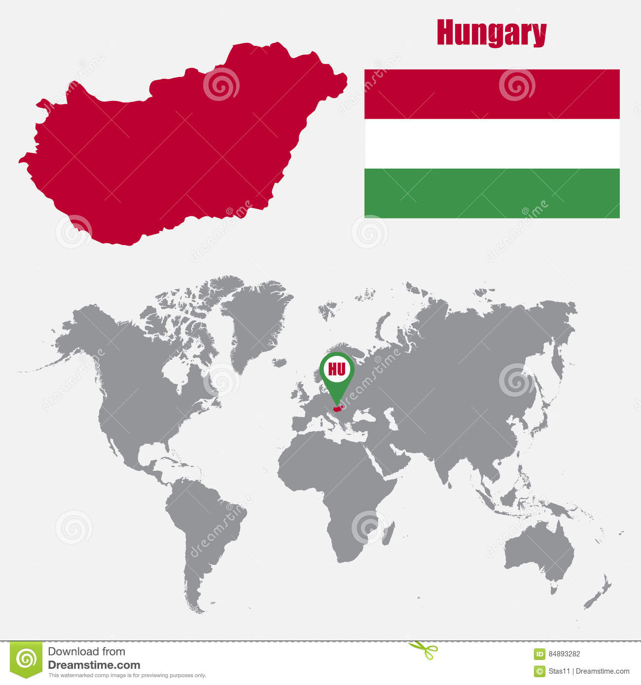 Hungary Map On A World Map With Flag And Map Pointer Vector