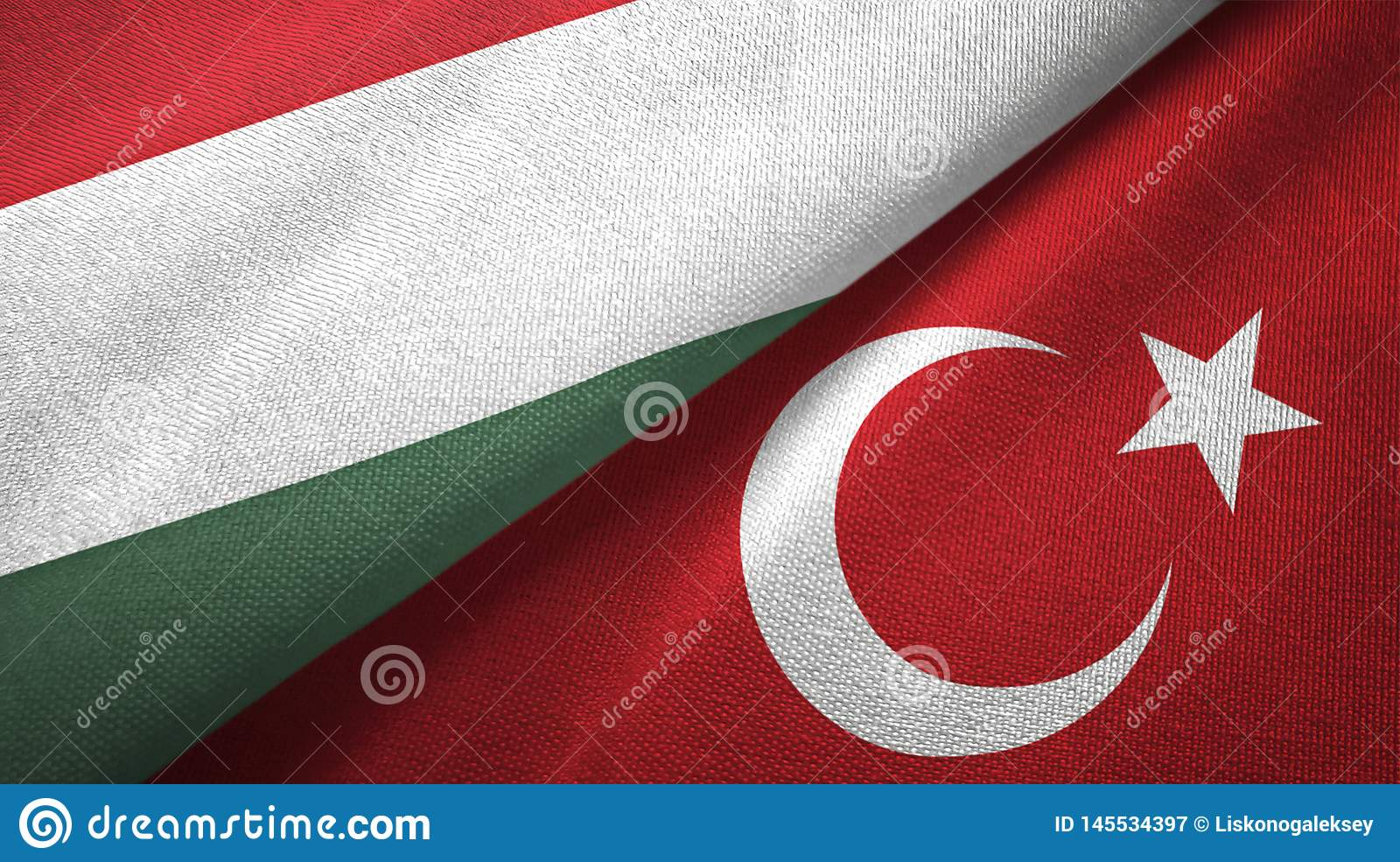 Hungary and Turkey two flags textile cloth, fabric texture