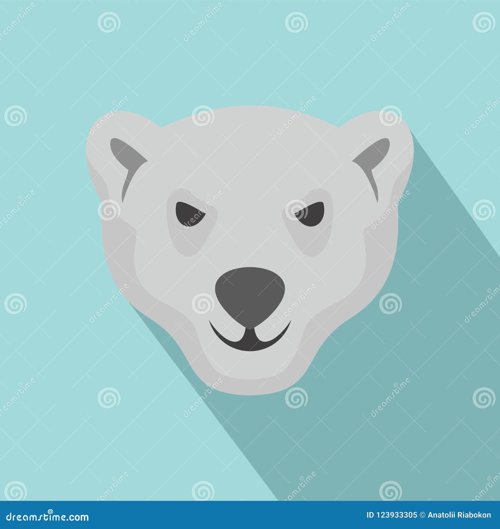 Hungrigt huvud av isbjörnsymbolen, lägenhetstil
