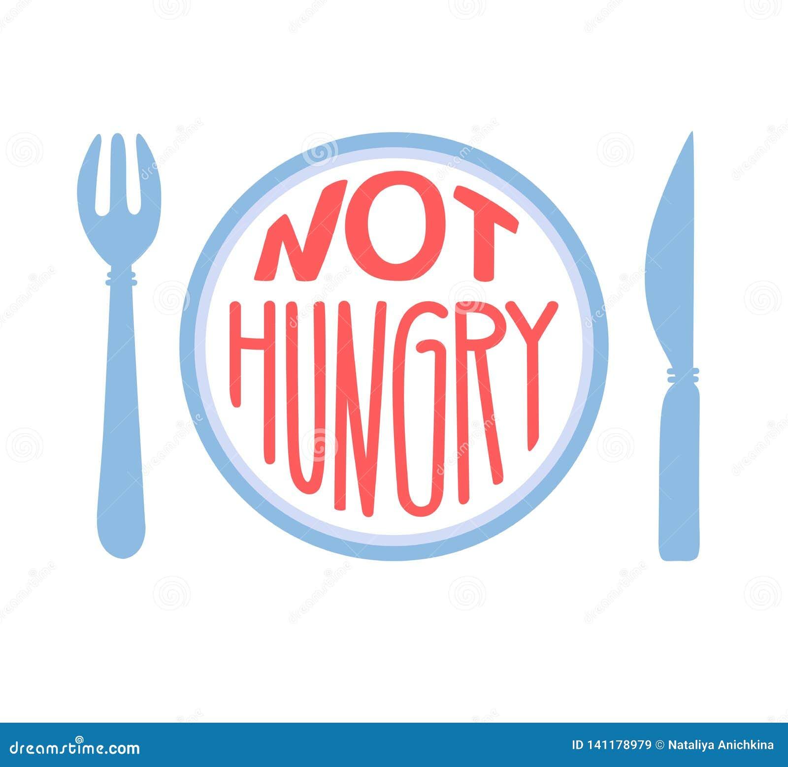 Hungrigt inte Intermittent fasta begrepp Dragen hand märka illustrationen av en platta med en gaffel, en kniv och ett motivationa