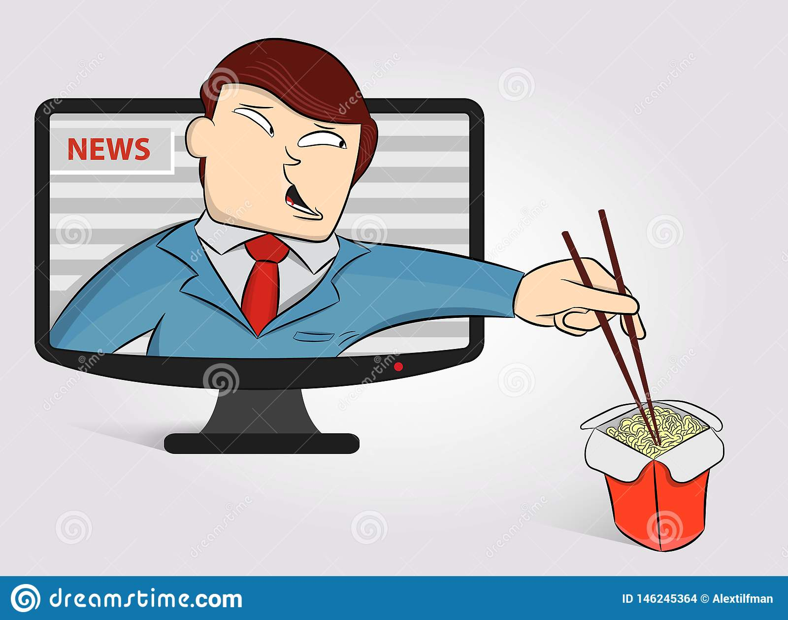 Hungry anchorperson got out of the TV to eat noodles. Funny News Anchor on TV Breaking News background. Male news anchor. Concept