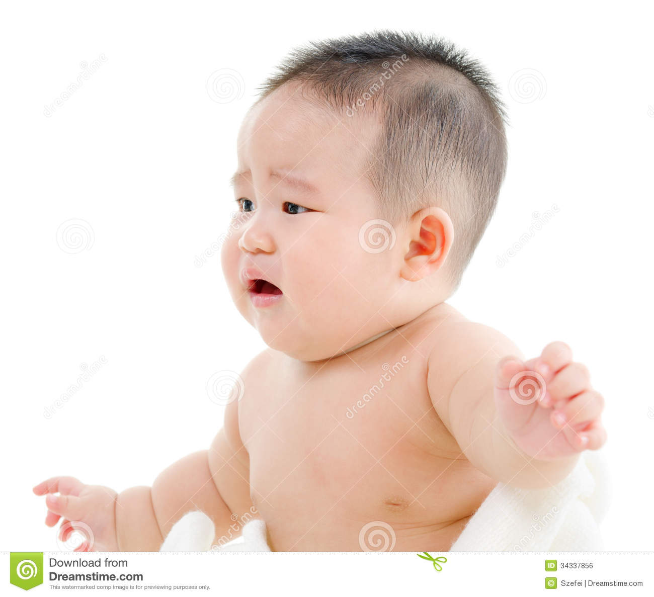 Hungry asian baby boy crying sitting isolated on white background