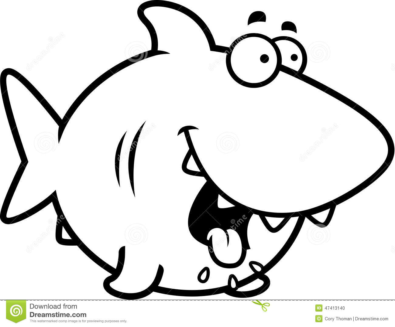Hungry Cartoon Shark Stock Vector - Image: 47413140