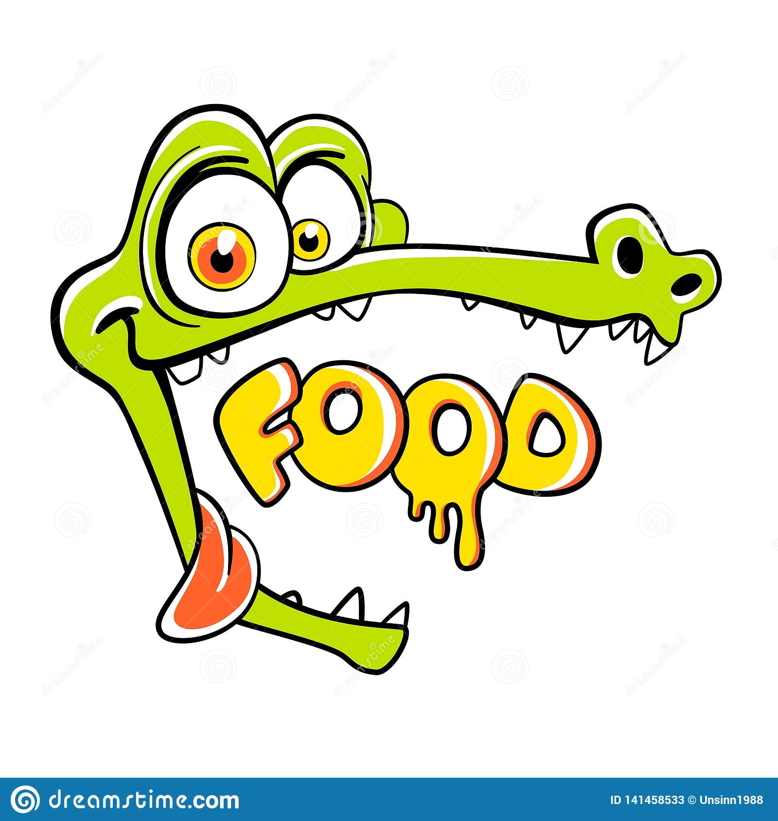 Hungry crocodile with open mouth and empty space, cartoon personage for cafe. The inscription food