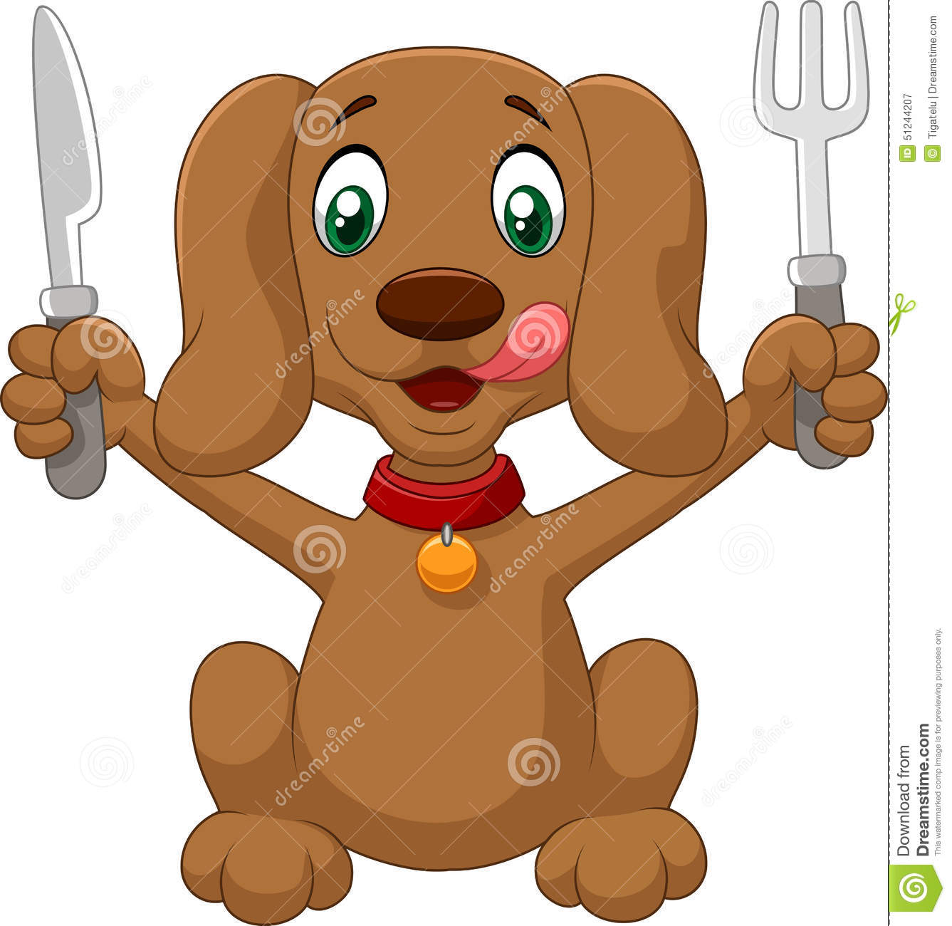 Hungry dog cartoon is ready to eat stock vector