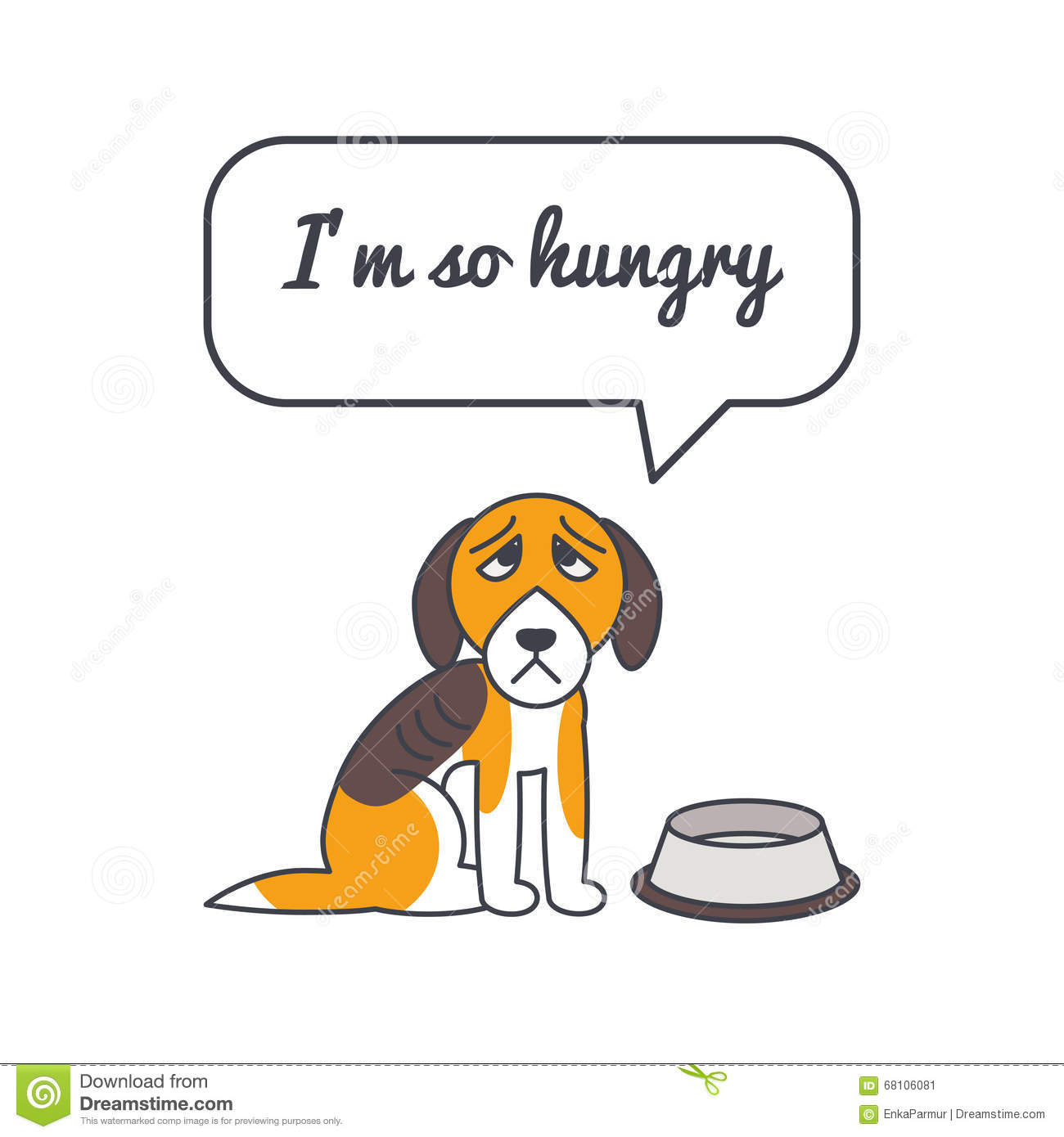 Hungry Dog With Speech Bubble And Saying Stock Vector ...
