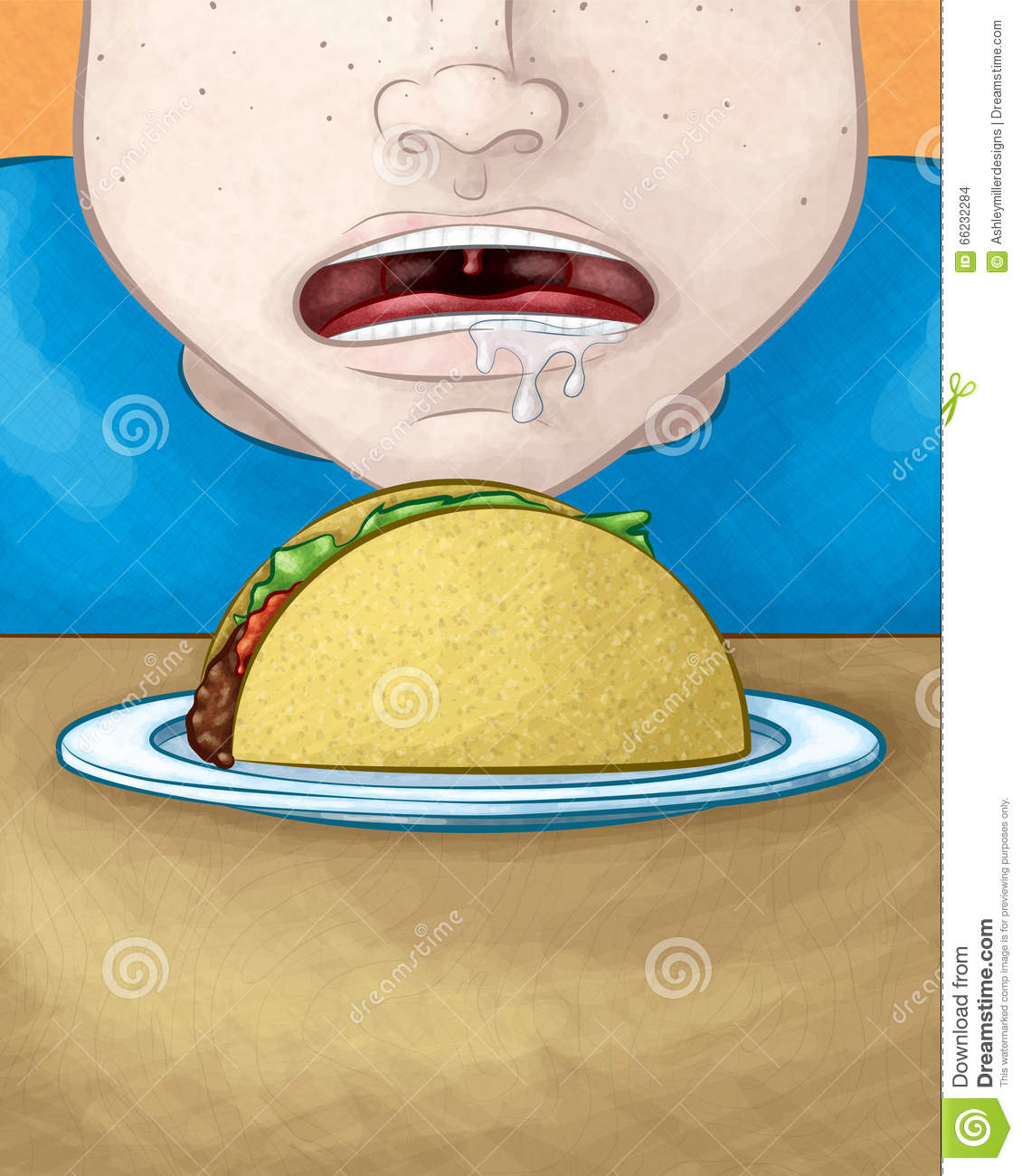 Hungry Face With Taco Stock Vector - Image 66232284-9451