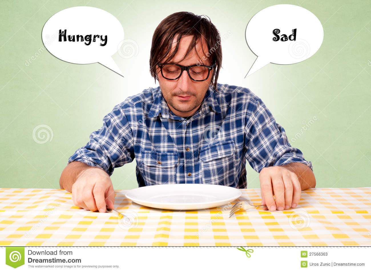 Hungry And Sad Stock Image Image Of Human Plate Lunch