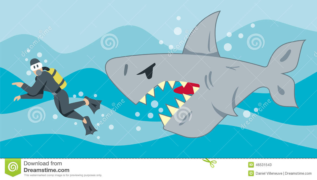 Tank Trouble 1 >> Hungry Shark stock vector. Image of gills, diver, tank - 46531543