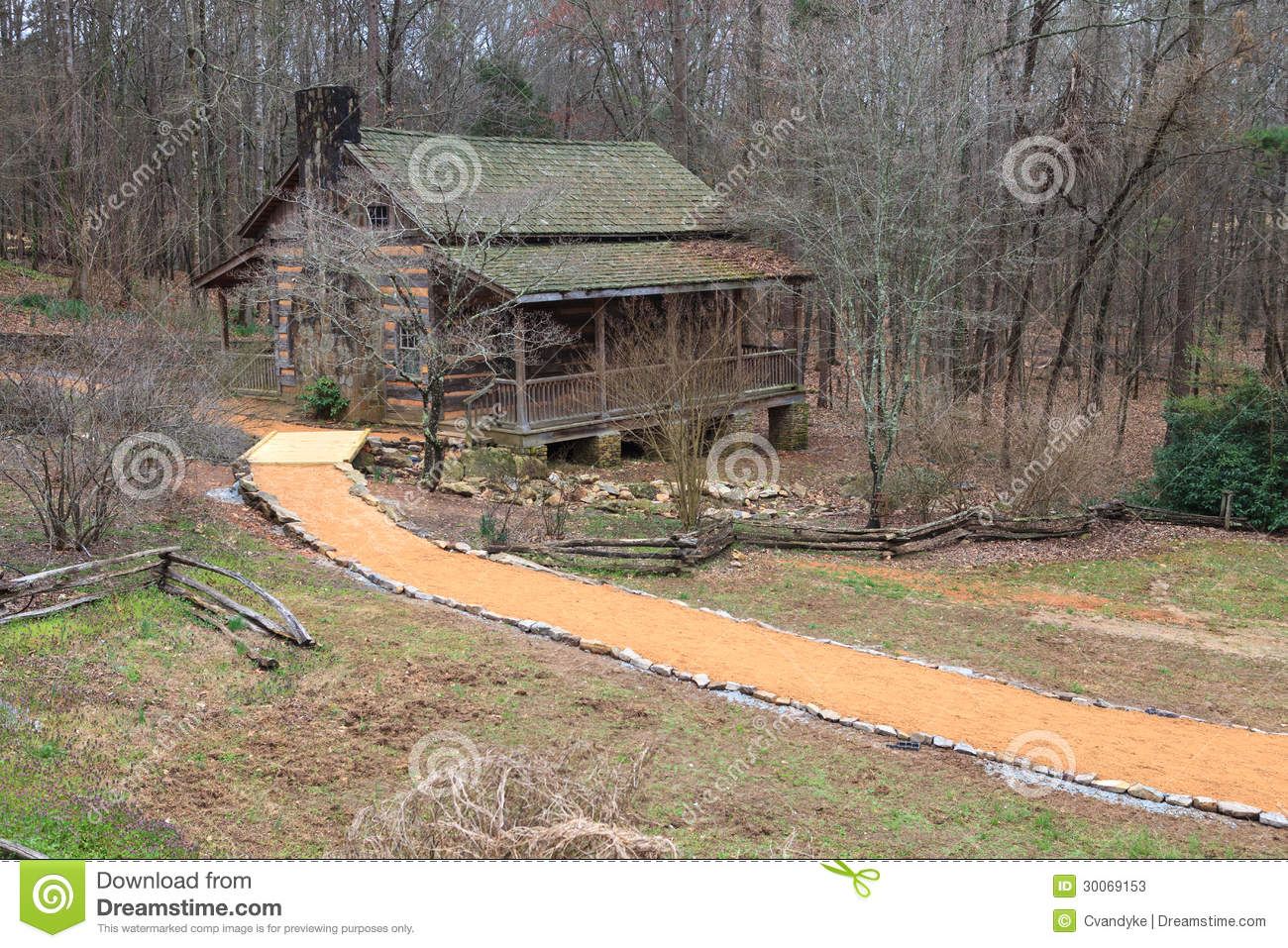 The Hunt Log Cabin, built in 1825, is part of a pioneer village ...