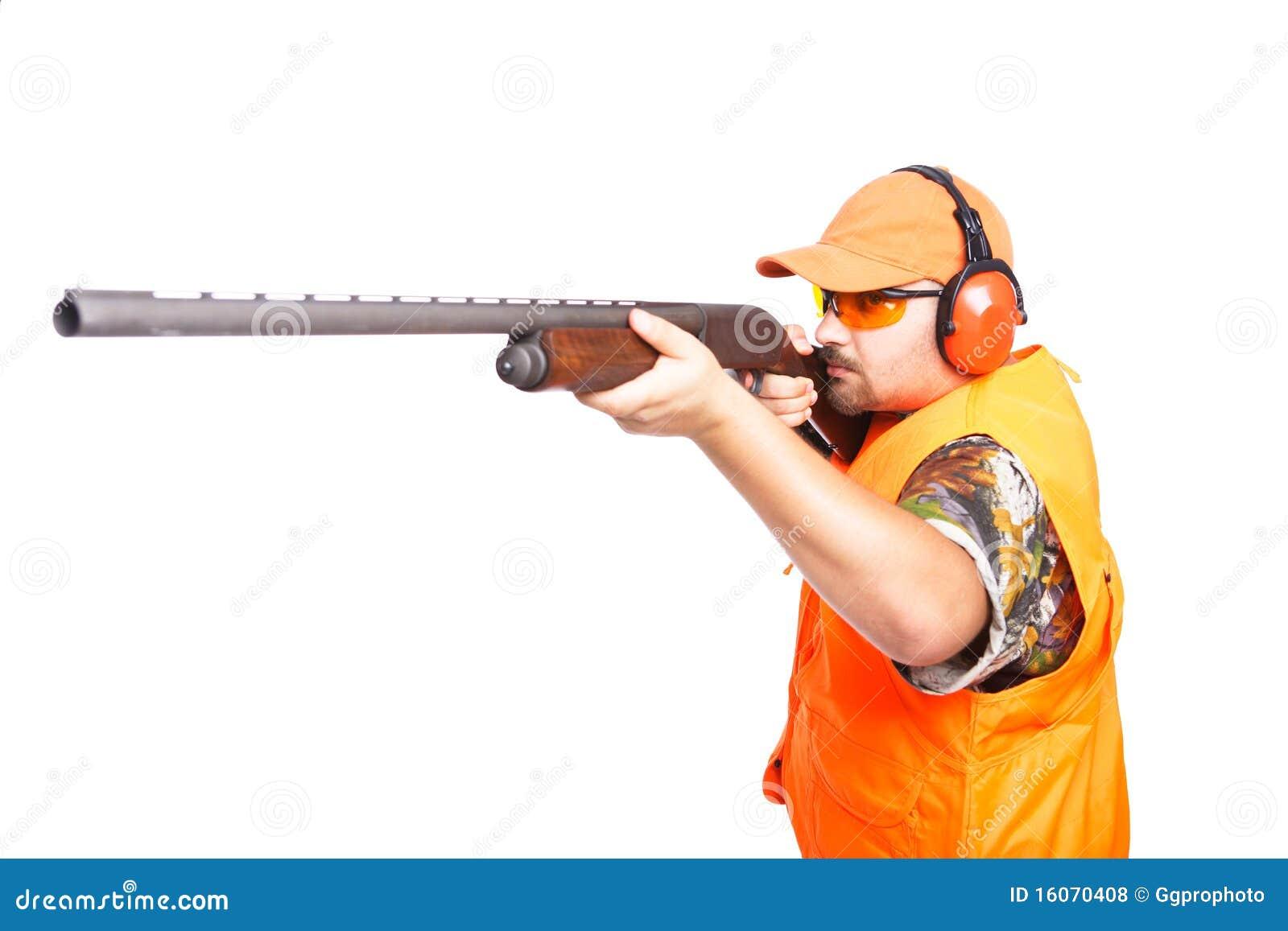 Hunter Aiming Pump Action Shotgun Royalty Free Stock ...