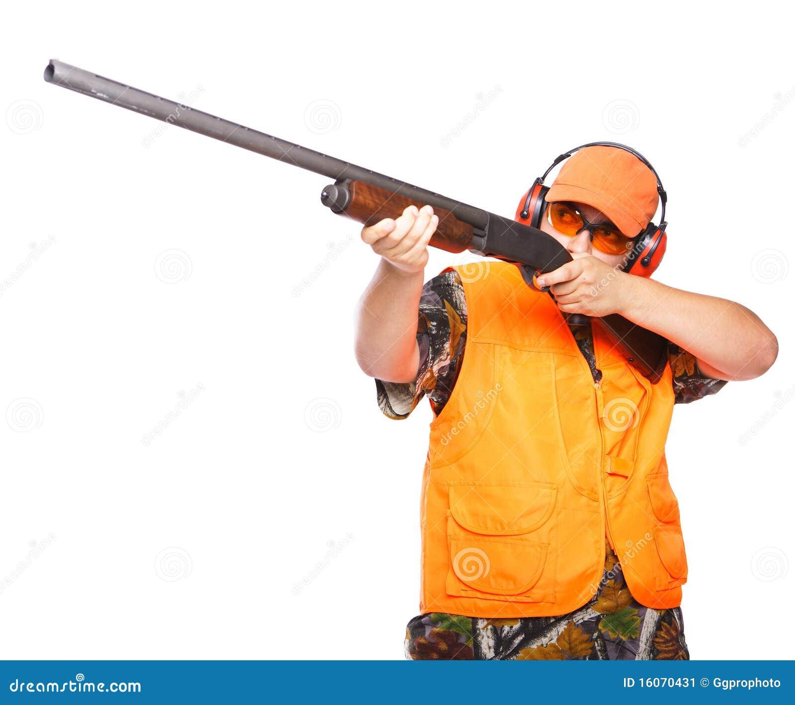 Hunter Aiming A Shotgun Stock Image - Image: 16070431
