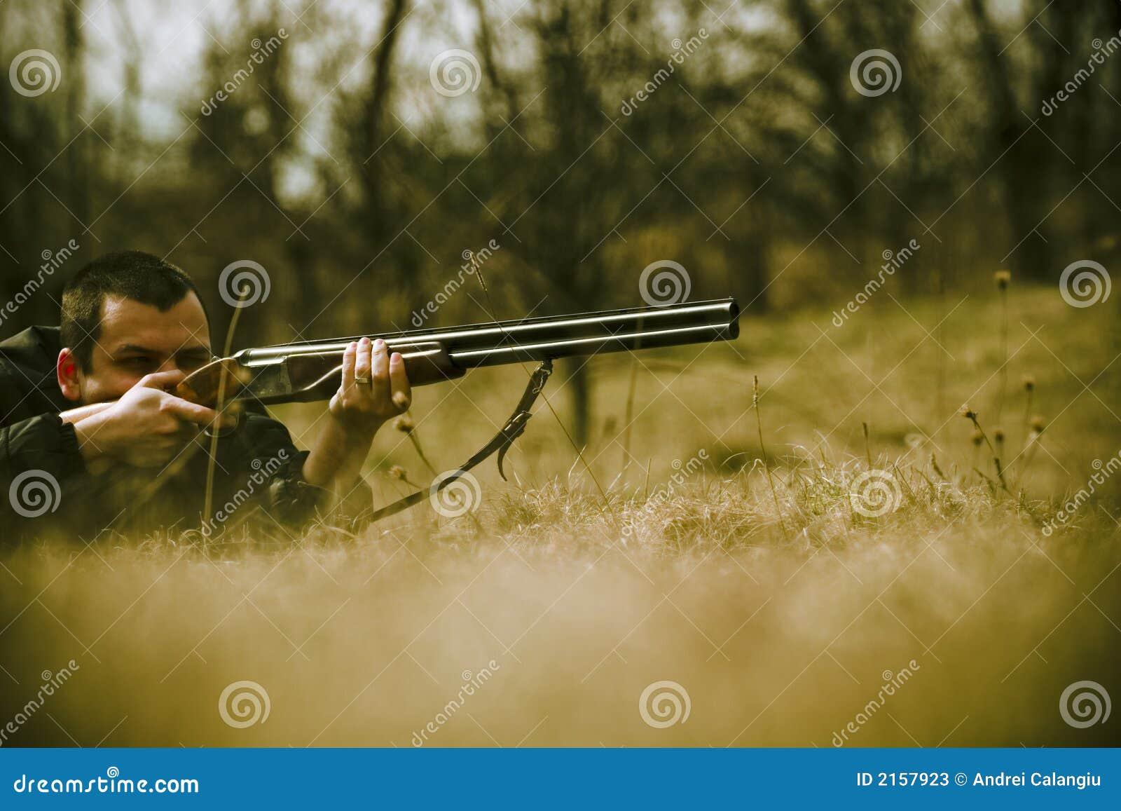 Hunter Aiming Shotgun Stock Photos - Image: 2157923