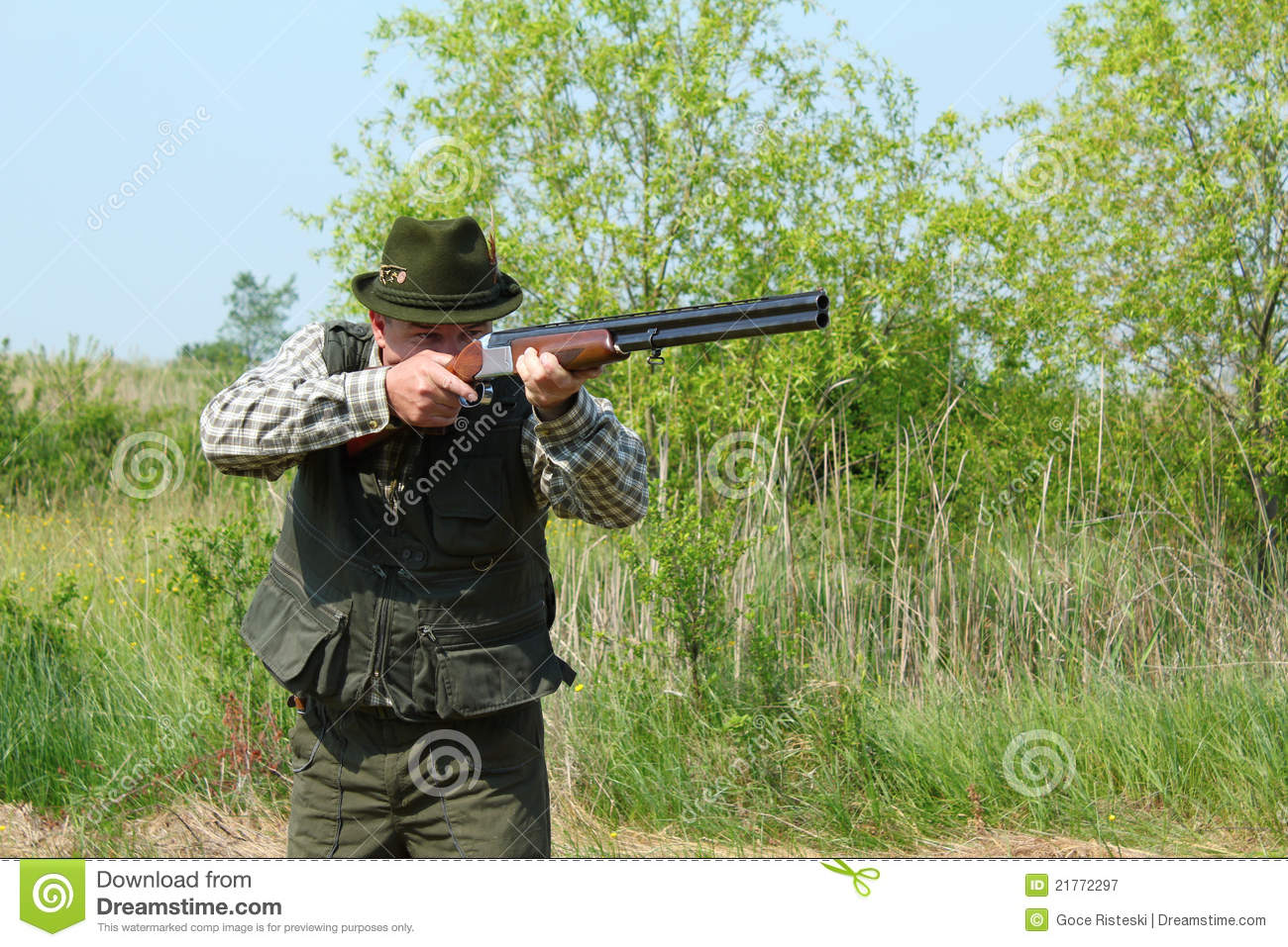 Hunter Aiming With Shotgun Royalty Free Stock Photography ...