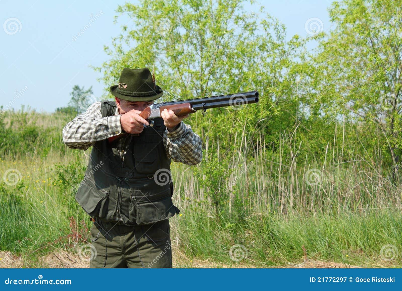 Hunter Aiming With Shotgun Royalty Free Stock Photography ...