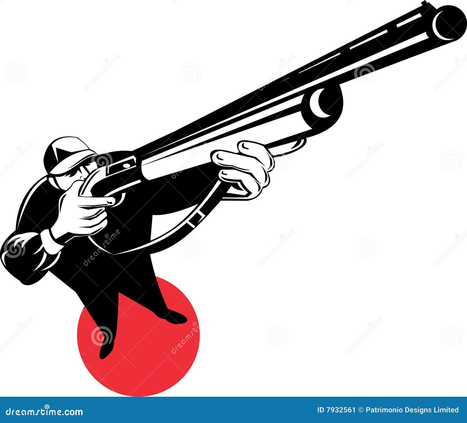 Hunter Aiming A Shotgun Stock Image - Image: 7932561