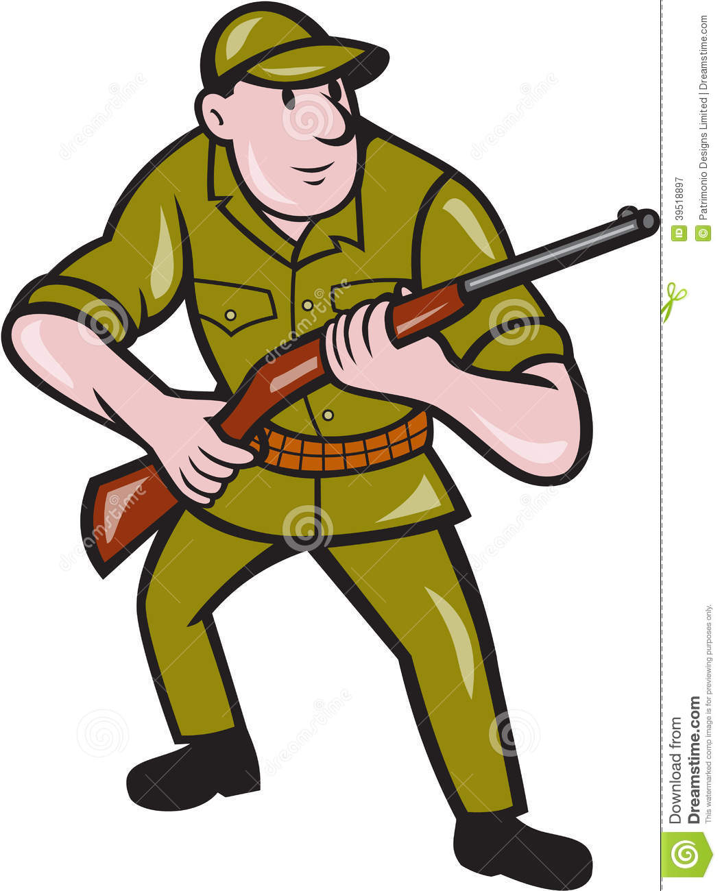 Illustration of a hunter carrying rifle facing front on isolated