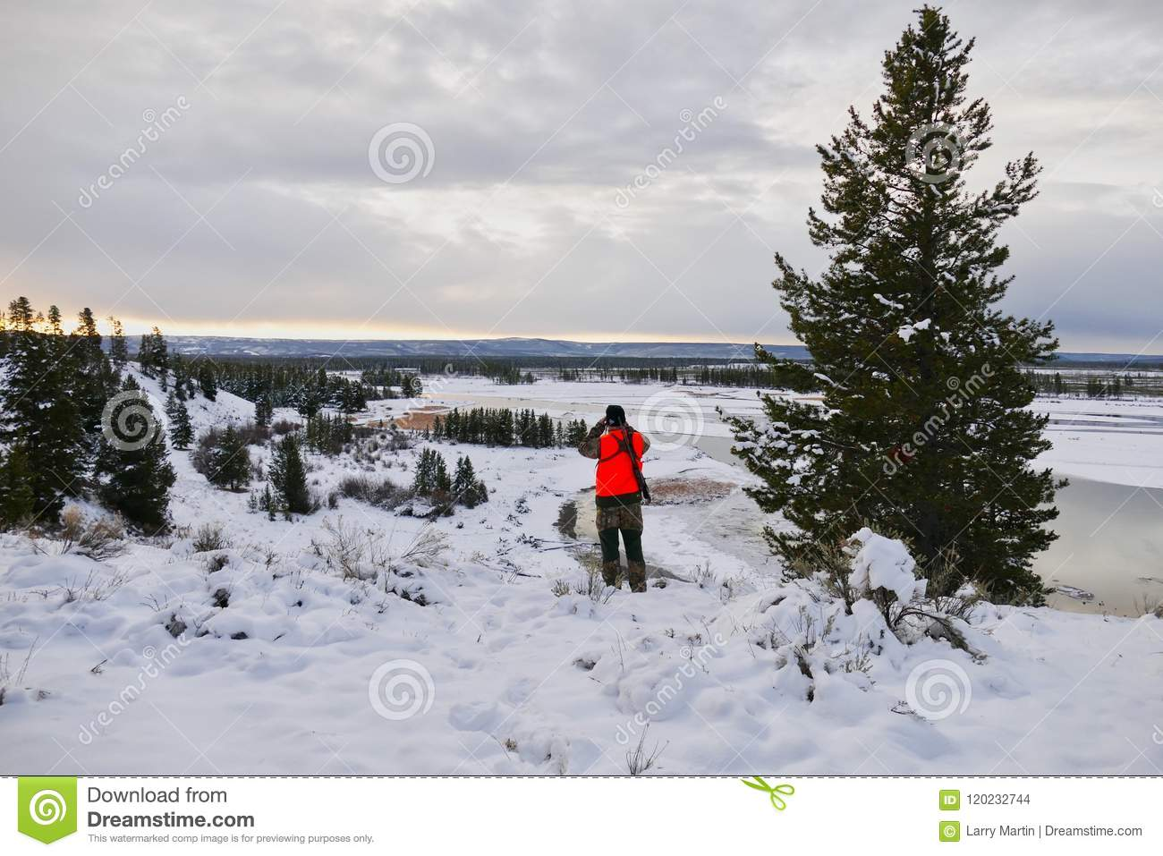 Hunter On The Madison River, Montana Stock Photo - Image of grouse ...