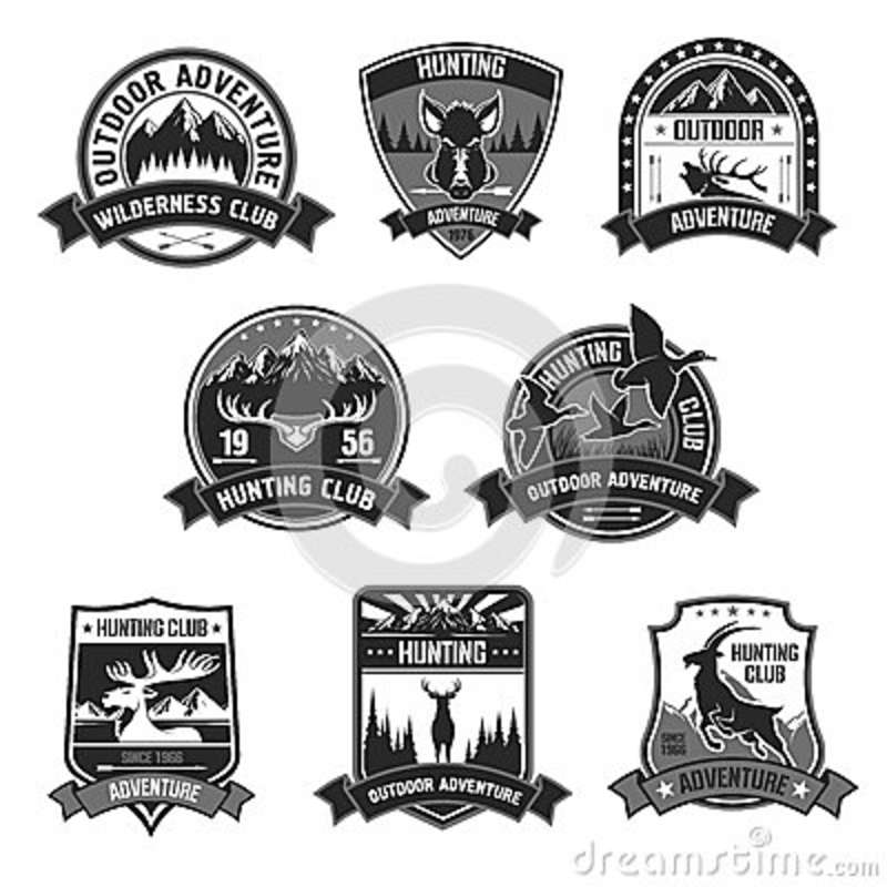 Hunting Club Adventure Vector Icons Or Badges Set Stock Vector
