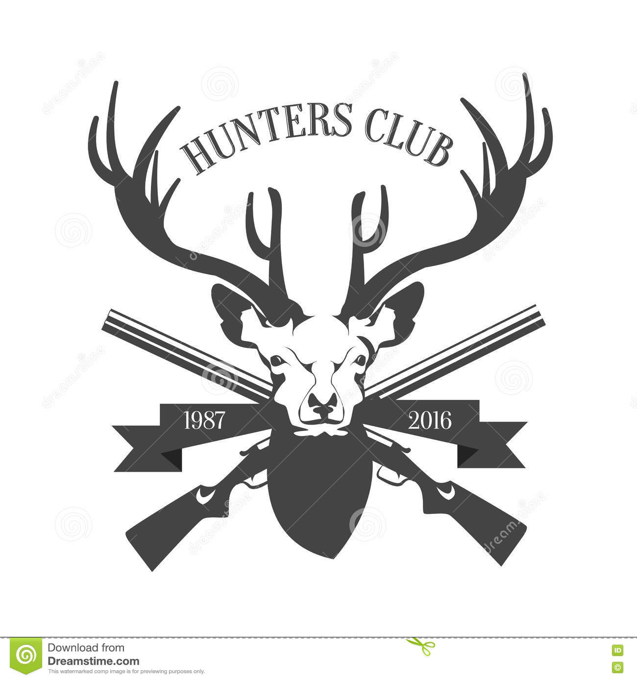 Hunting Club Logo Template Deer Head And Horns Silhouette Isolated On White Background