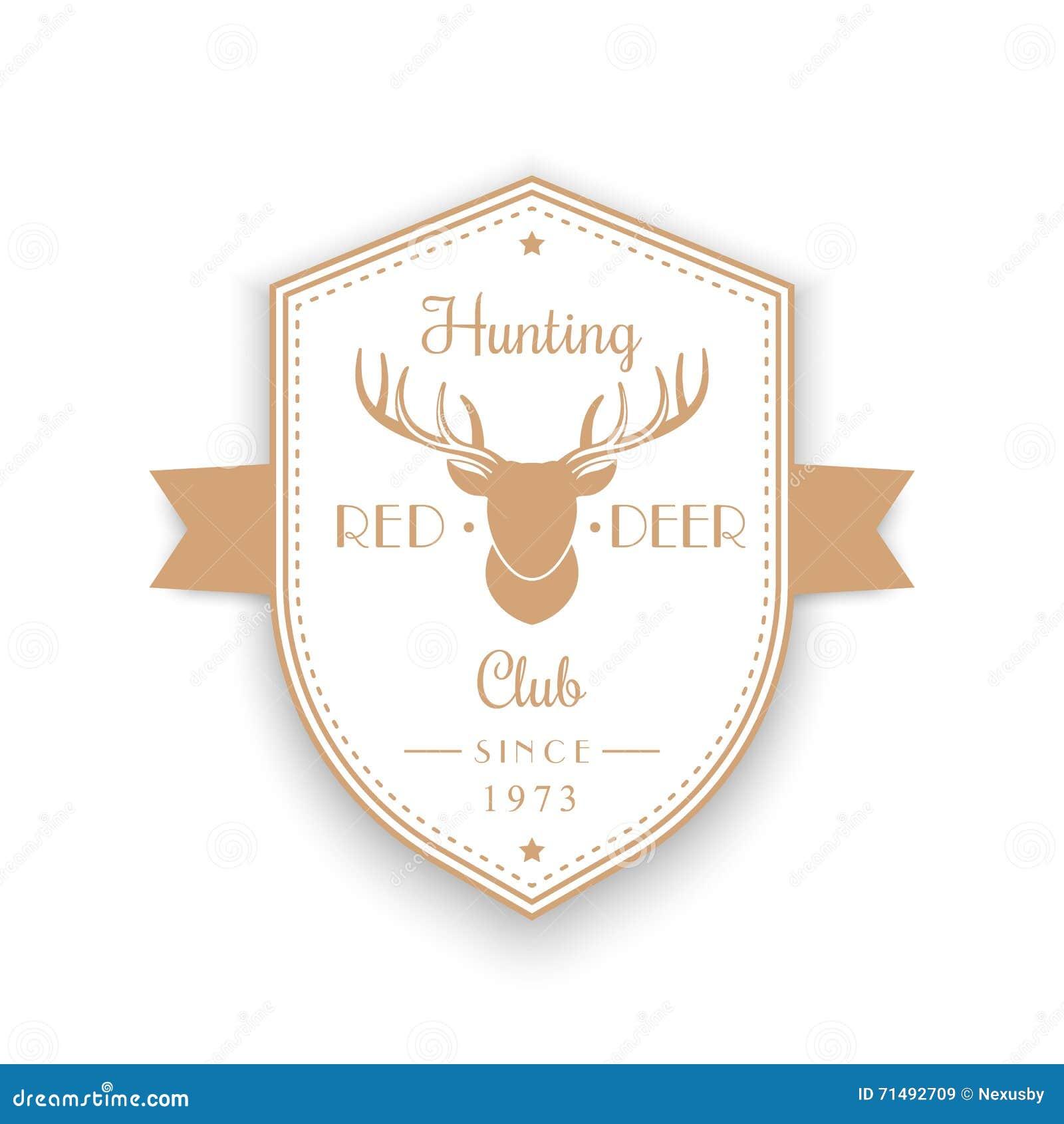 Hunting Club Vintage Emblem Badge Logo With Deer Head Shield Shape On