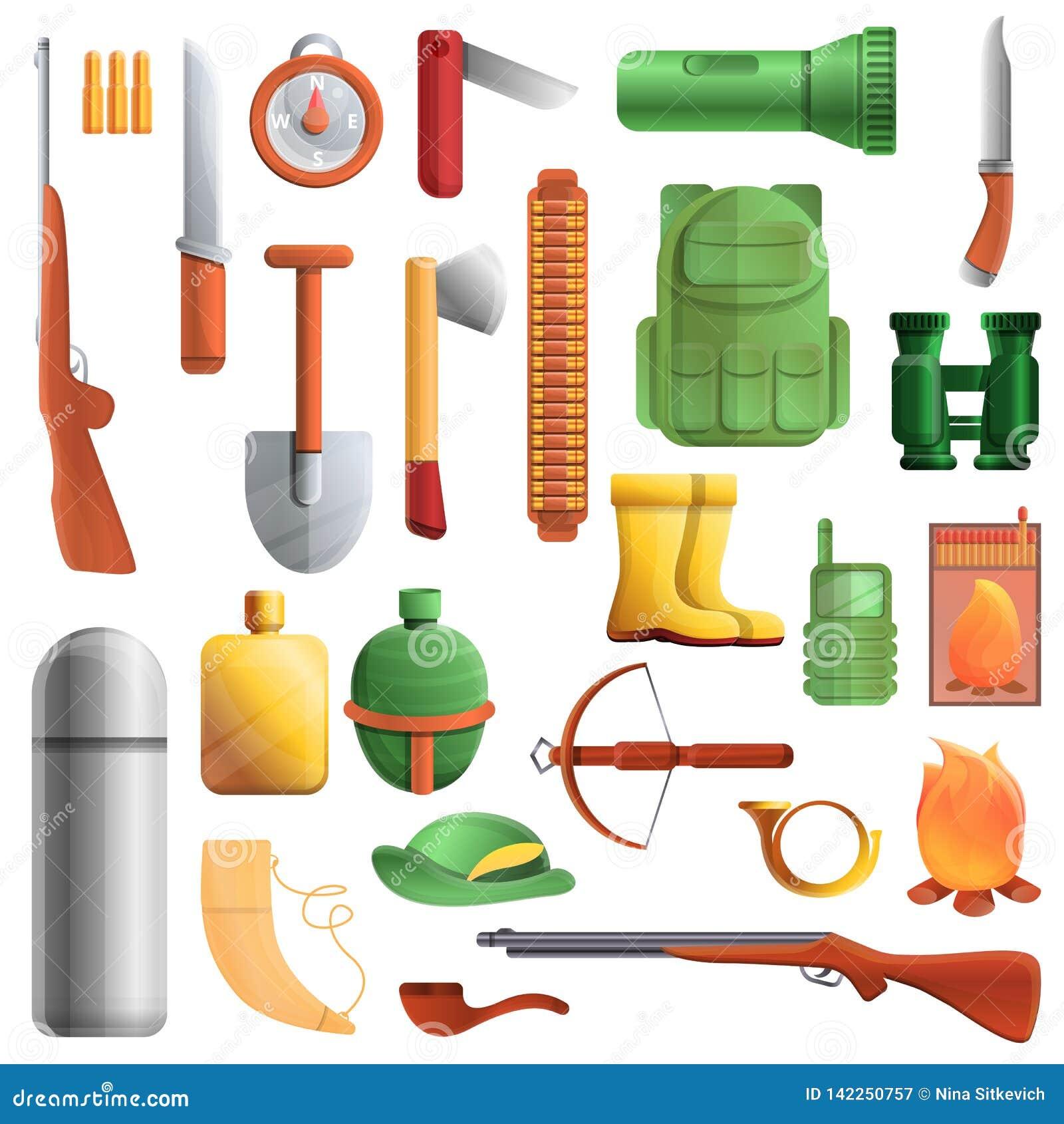 Hunting equipment icons set, cartoon style