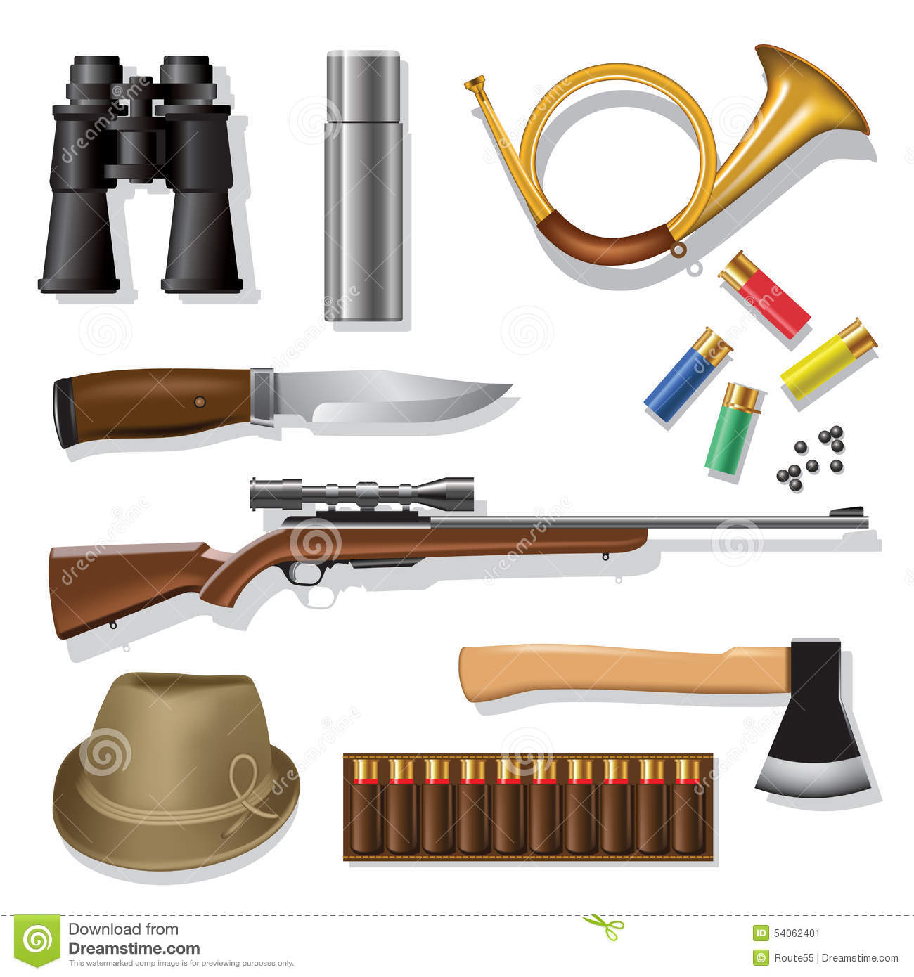 Hunting Equipment Stock Vector