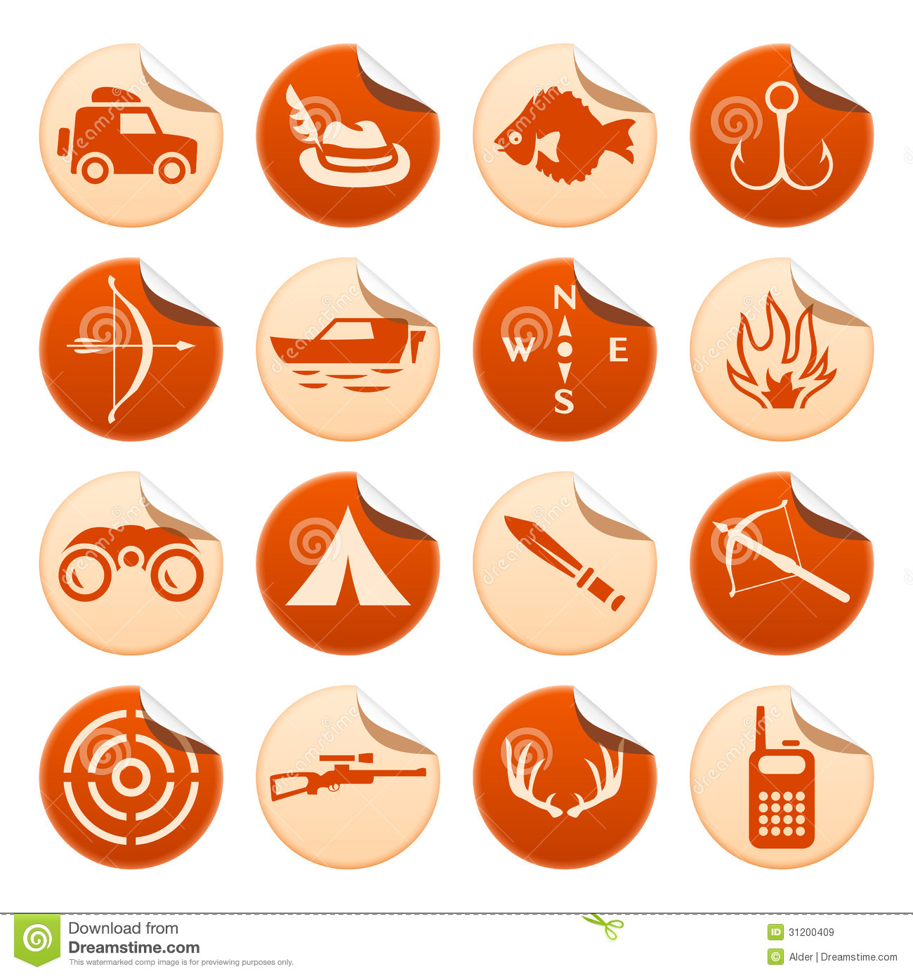 Hunting and fishing stickers stock vector image 31200409 for Free fishing stickers