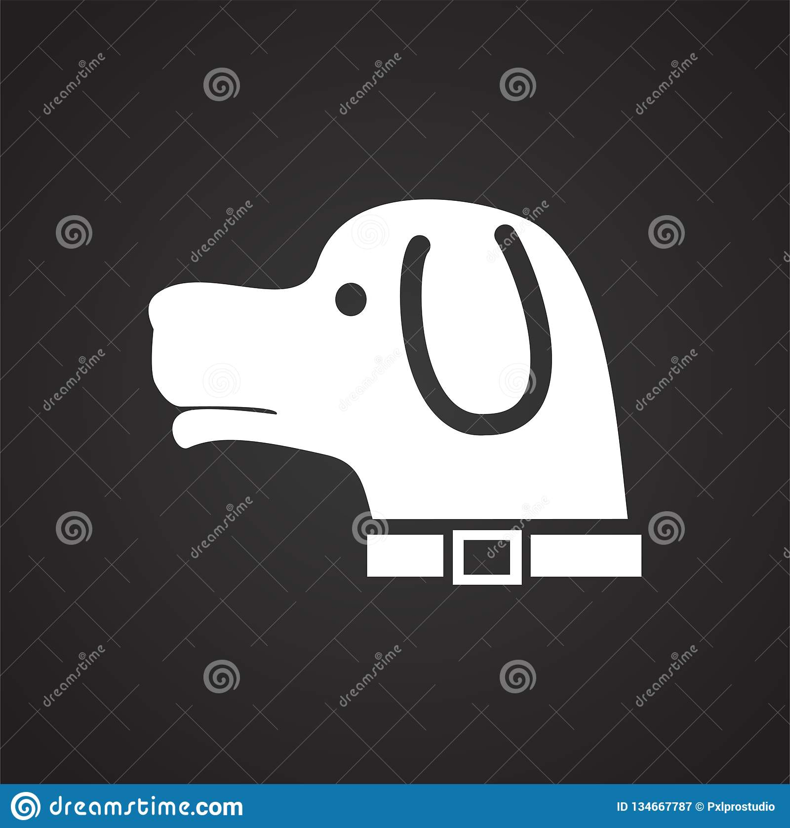 Hunting Hound Dog Icon On Black Background For Graphic And Web