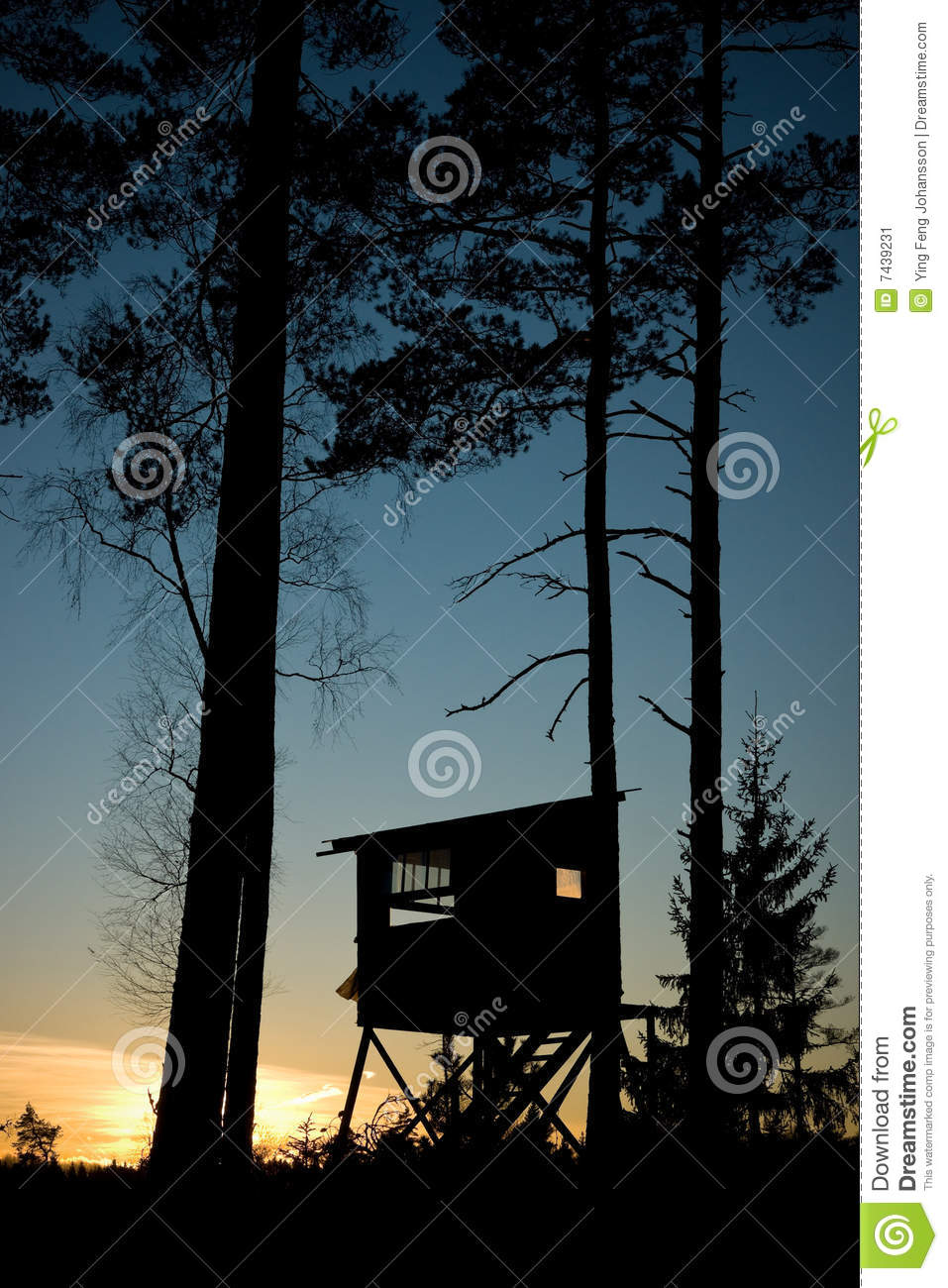 Hunting hut stock image image of silhouette sunset for Hunting hut plans