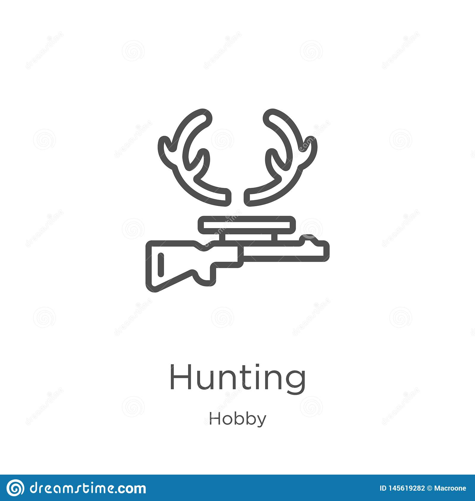 hunting icon vector from hobby collection. Thin line hunting outline icon vector illustration. Outline, thin line hunting icon for