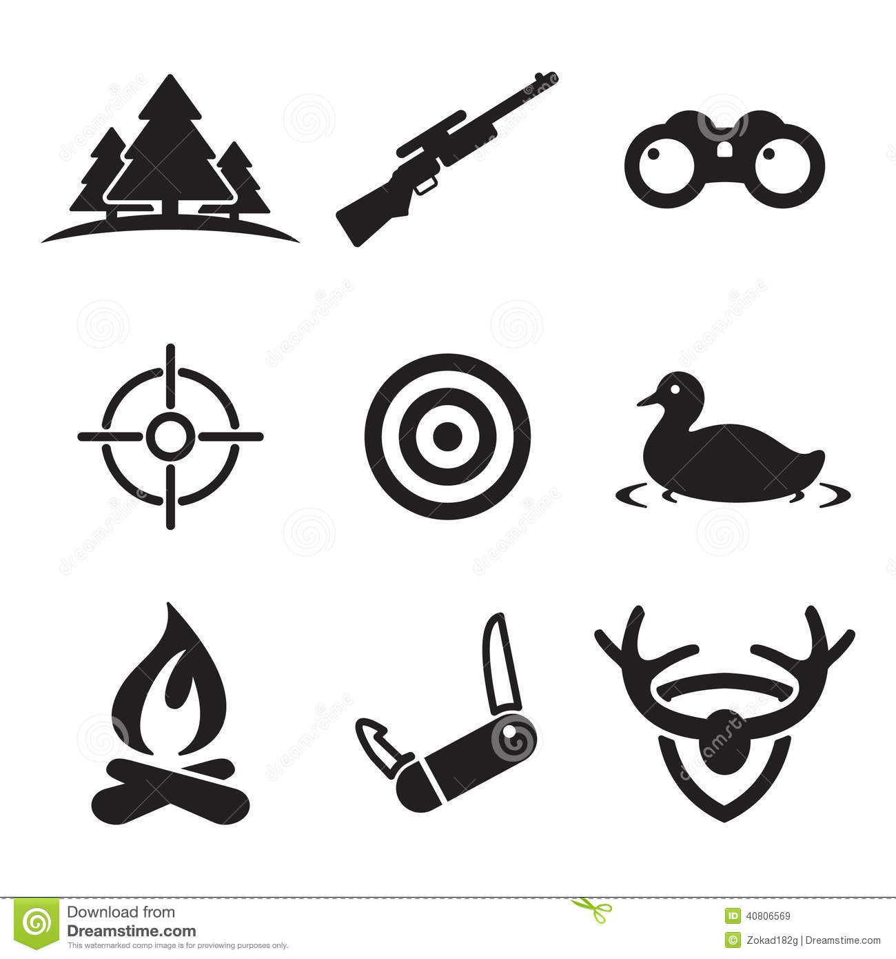 Hunting Icons Stock Vector Illustration Of Accurate