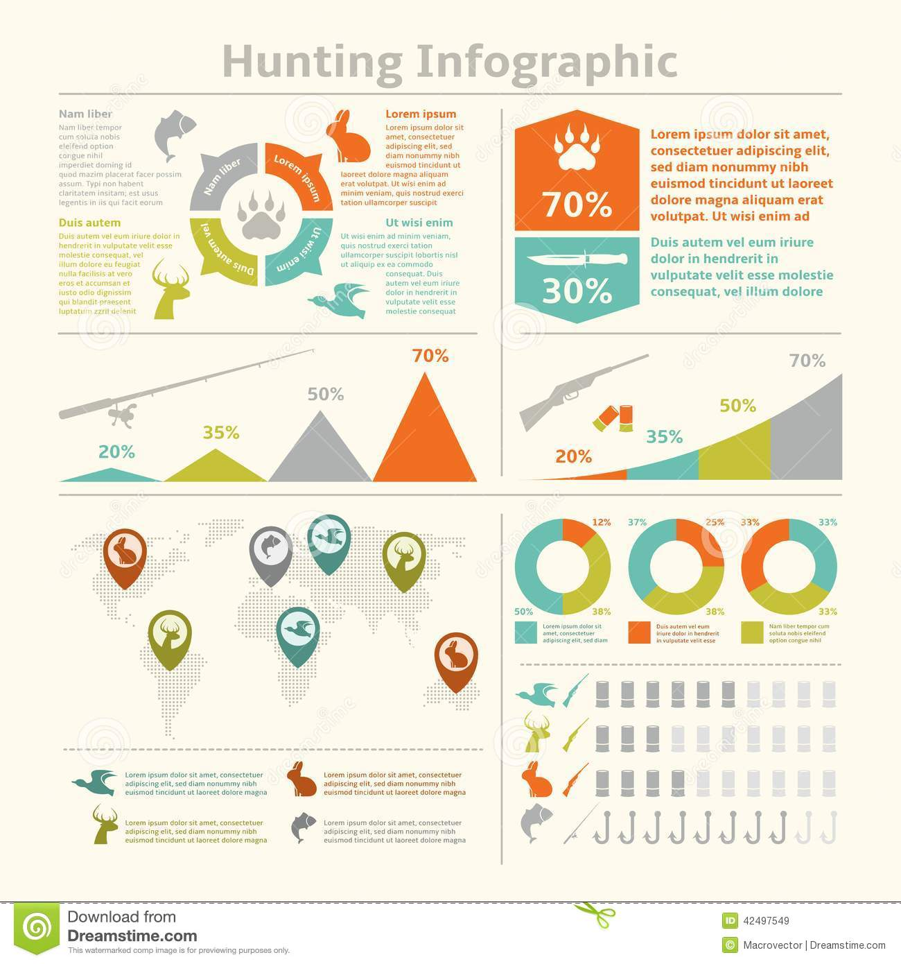Hunting infographics stock vector image 42497549 for Wildlife management plan template