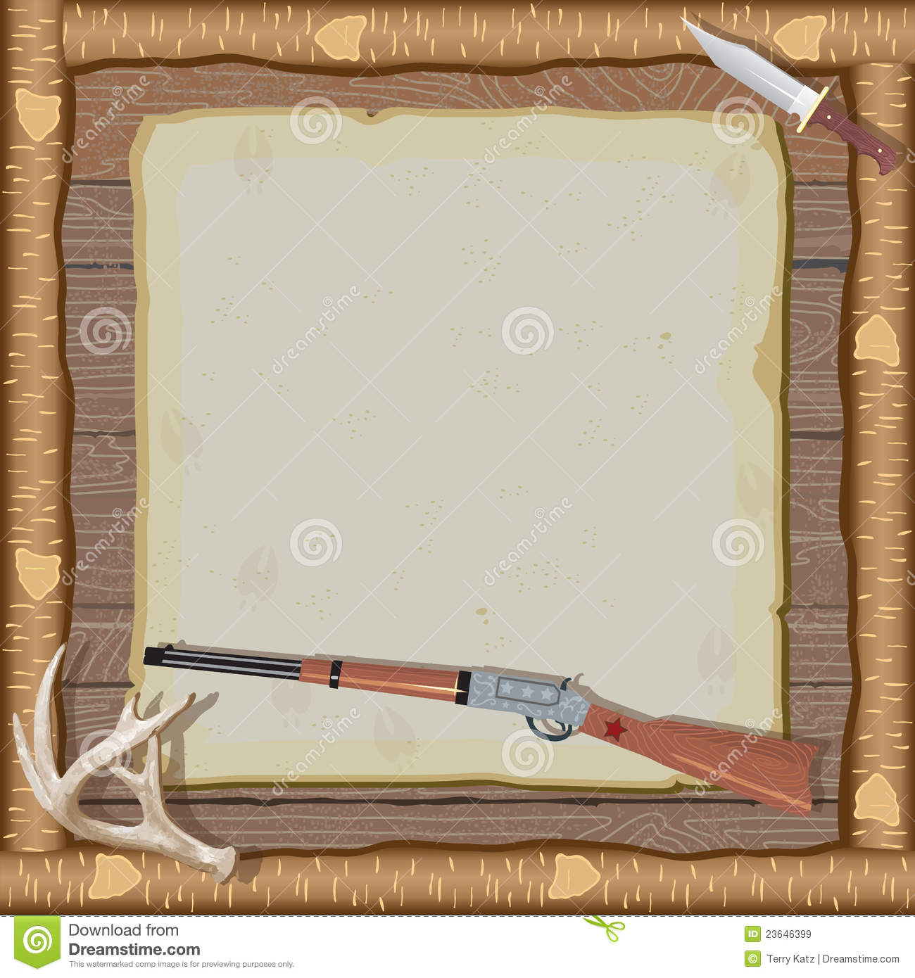 Hunting Invitation With Wood Frame Royalty Free Stock ...