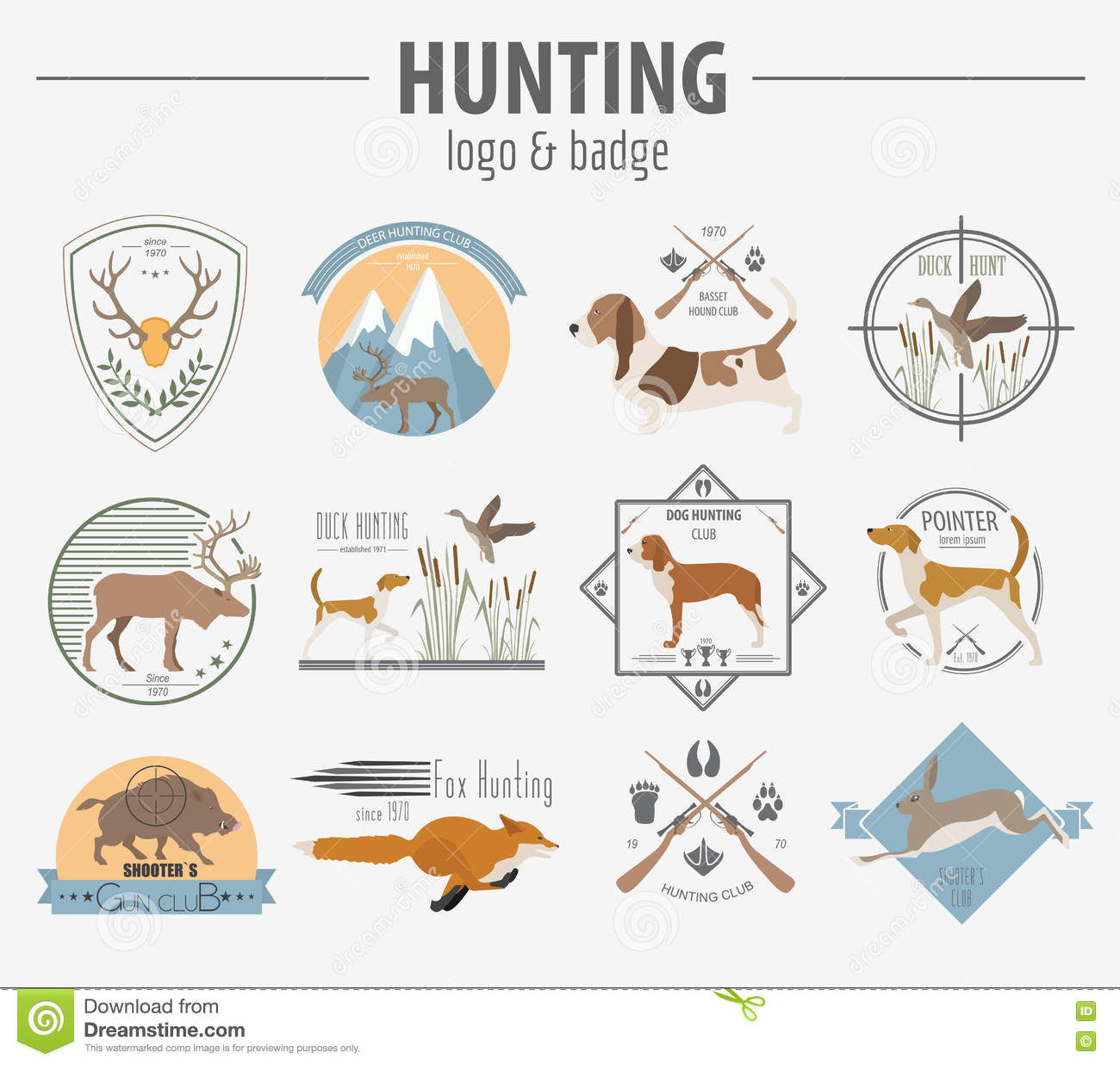 Hunting Logo And Badge Template  Dog Hunting, Equipment