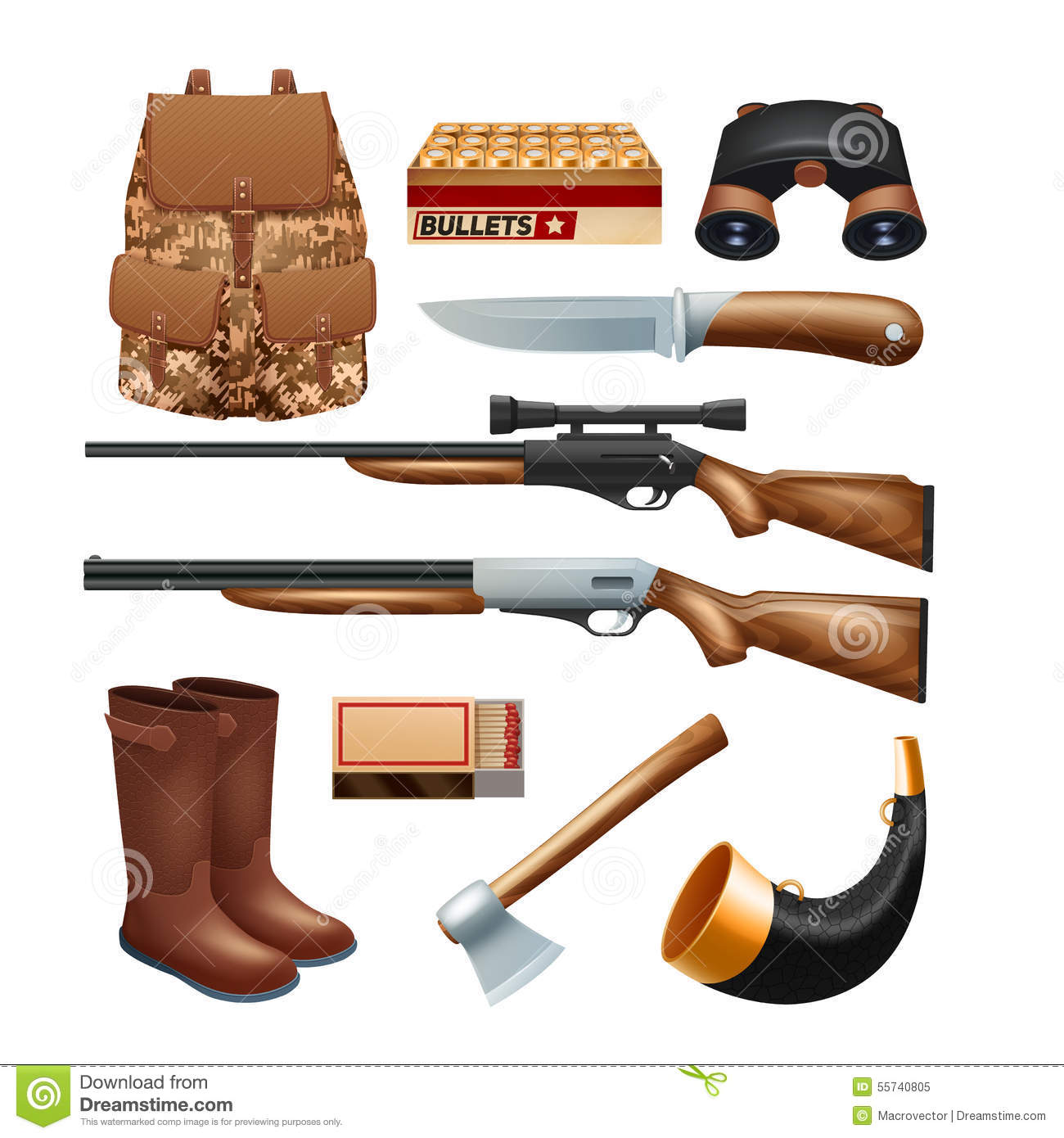 Hunting set icons comics style cartoon vector - Equipement de chasse ...
