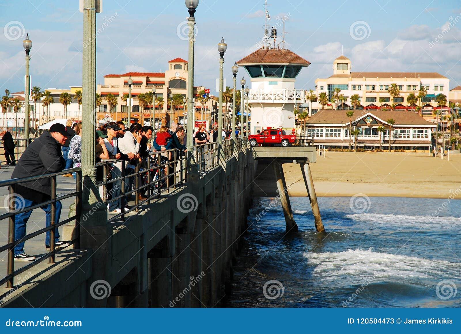 Huntington Beach Pier editorial stock photo  Image of american