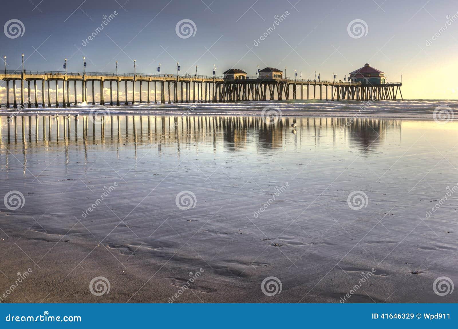 Huntington Beach Pier editorial stock image. Image of