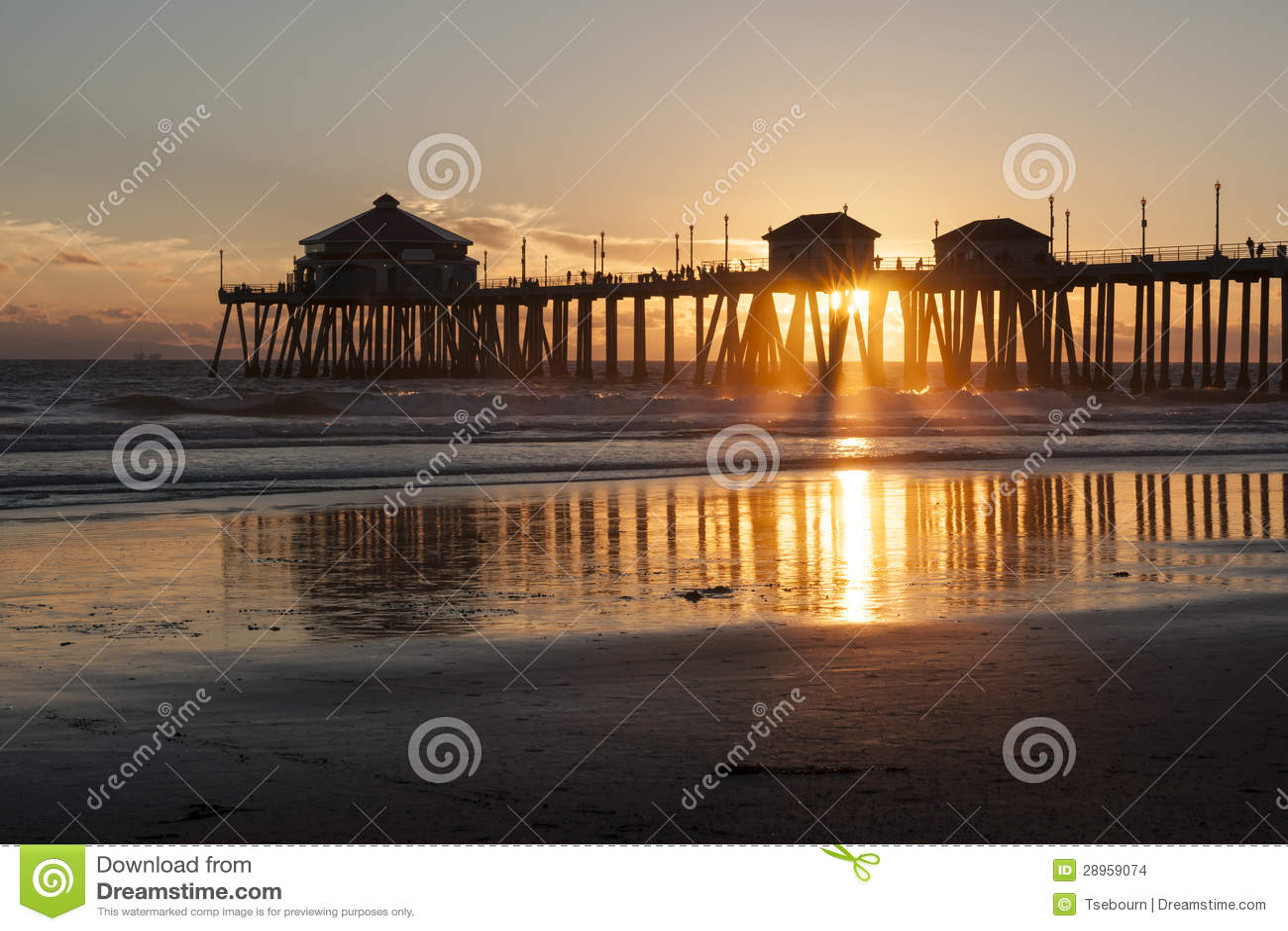 Huntington Beach Pier Sunburst Stock Photo - Image of fishing