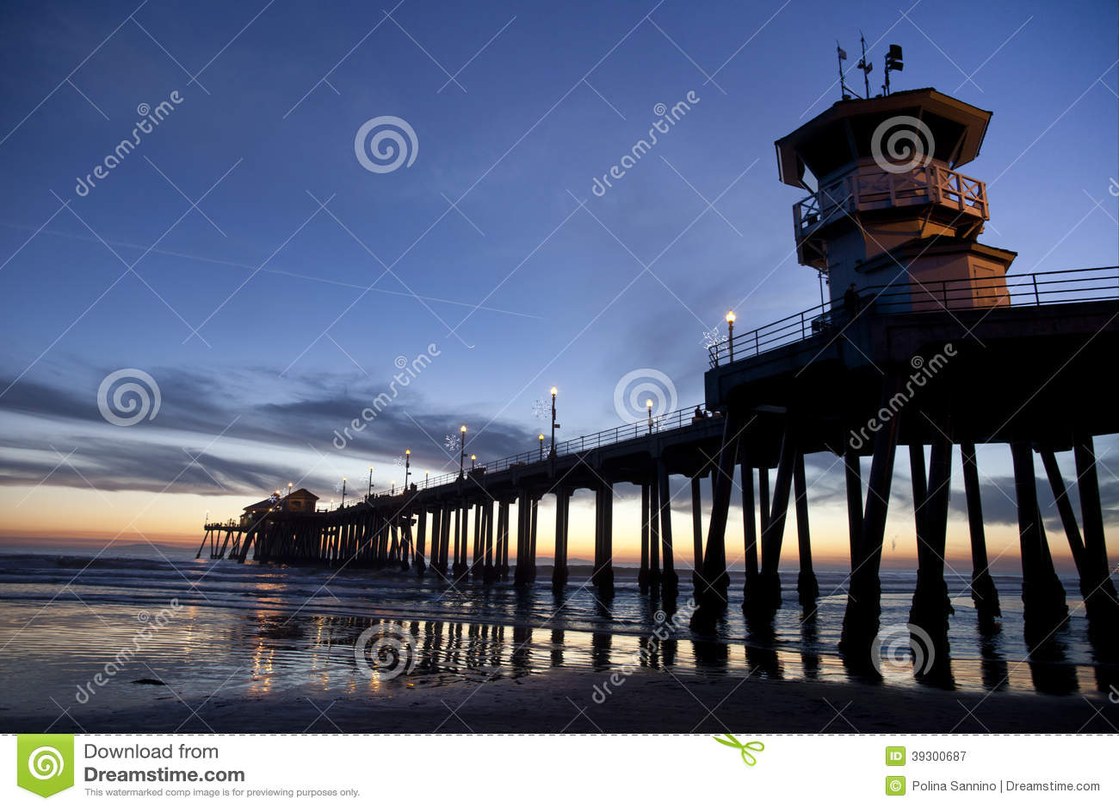 Huntington Beach Pier HDR stock image. Image of ocean