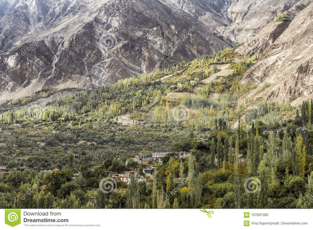 View of Hunza Valley, Pakistan.