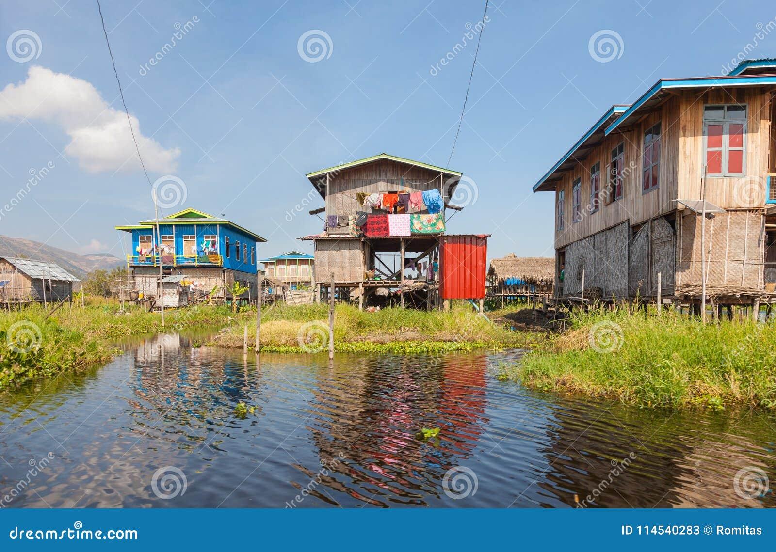 Hupin Nyaung Shwe Village At Inle Lake Editorial Stock Photo