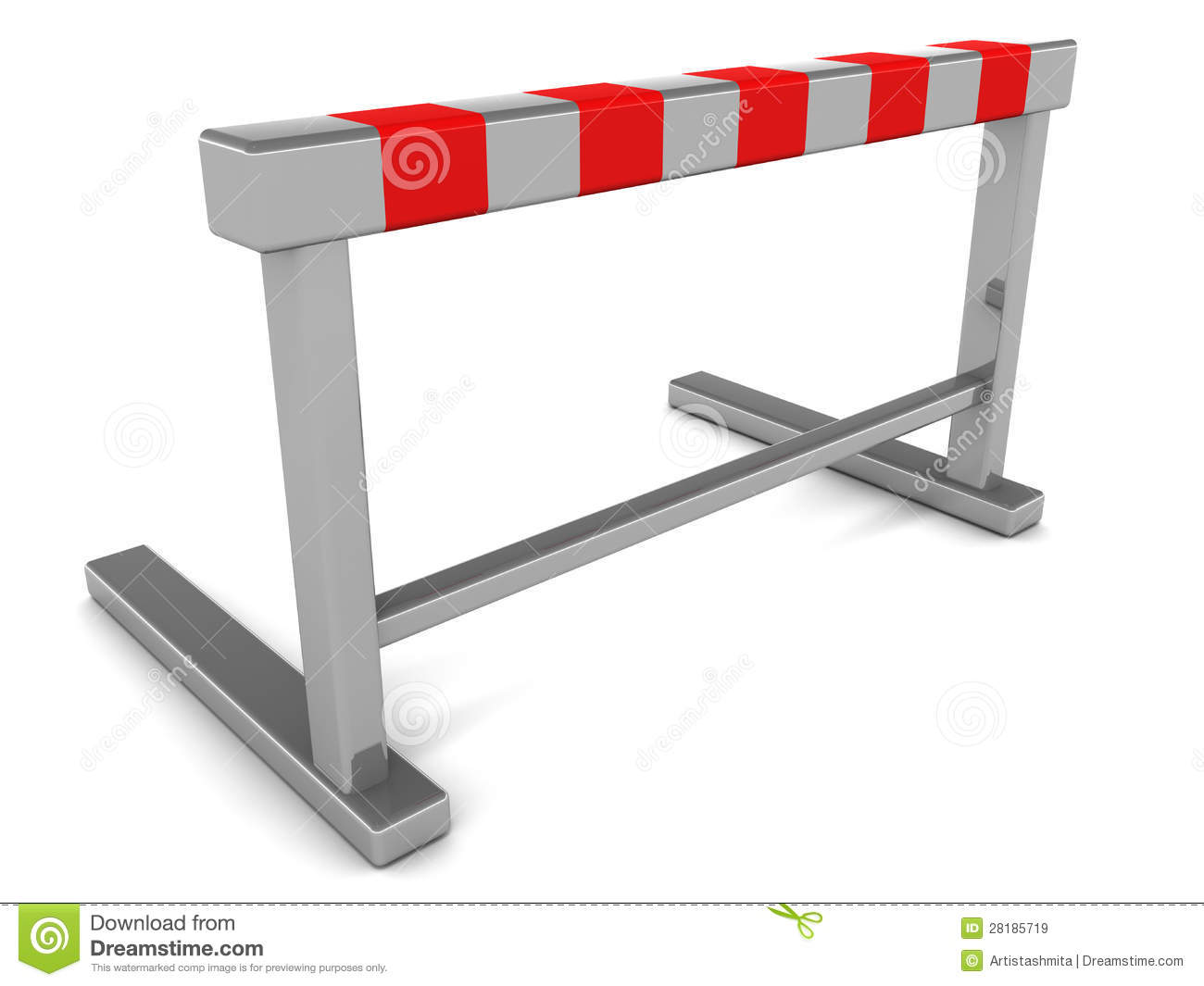 Hurdle barrier on white background, concept of challenge and ...