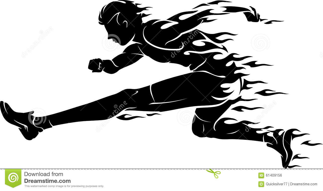 Hurdle Race Flame Athlete Stock Vector Illustration Of