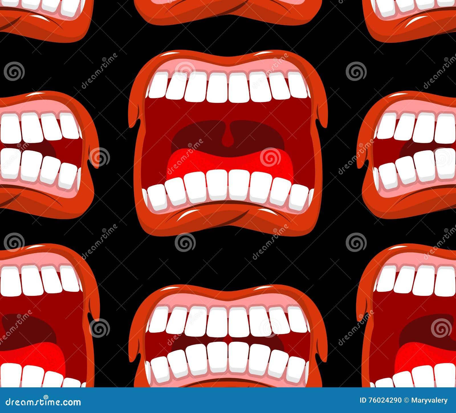 Hurle le modèle sans couture de lèvres fond de cri Émotion agressive