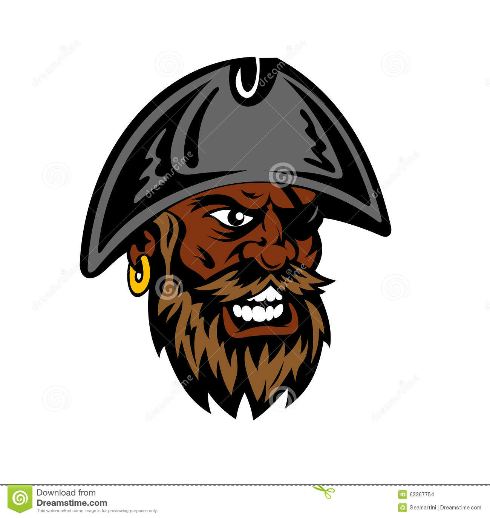 Hurlement du pirate barbu de bande dessinée dans le chapeau de capitaine
